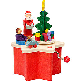 Music Box with Crank Santa Claus  -  7cm / 2.8 inch