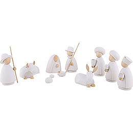 Nativity Set of 10 Pieces White/Natural  -  Large  -  10,0cm / 4.0 inch