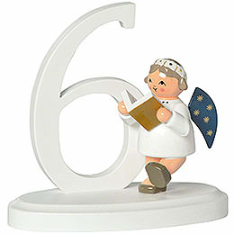 "Number ""6"" with Angel  -  7cm / 2.8 inch"