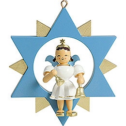 Short Skirt Angel with Bells in Star, Colored  -  9cm / 3.5 inch