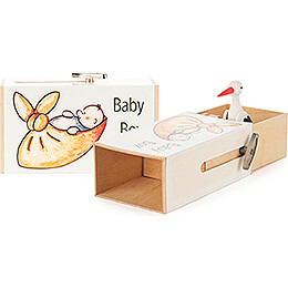 Slide Box  -  »Baby Box« with Stork  -  3,5cm / 1.4 inch