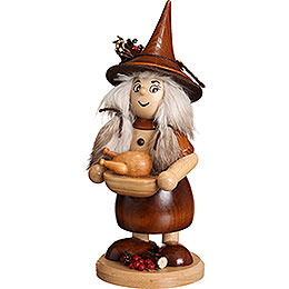Smoker  -  Lady Gnome with Pan, Natural  -  25cm / 10 inch