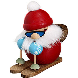Smoker  -  Santa on Ski  -  Ball Figure  -  10cm / 4 inch