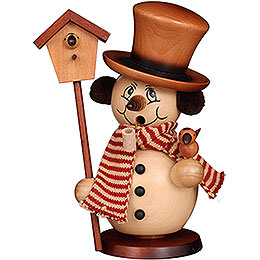 Smoker  -  Snowman with Bird House Natural  -  23cm / 9.1 inch