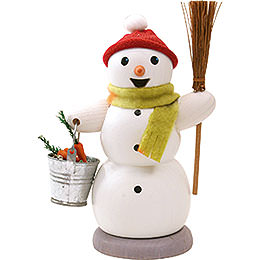 Smoker  -  Snowman with Bucket and Sweep  -  13cm / 5.1 inch