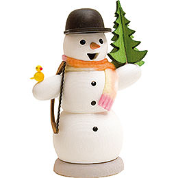 Smoker  -  Snowman with Fir Tree and Saw  -  13cm / 5.1 inch