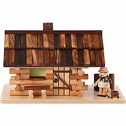 Smoking Hut  -  Forest Hut with Wood Worker  -  10cm / 4 inch