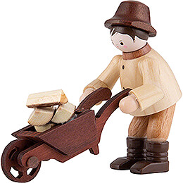 Thiel Figurine  -  Forest Man with Wheelbarrow  -  natural  -  6cm / 2.4 inch