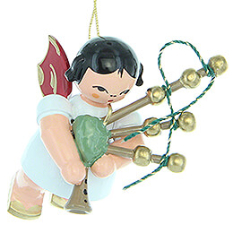 Tree Ornament  -  Angel with Bagpipe  -  Red Wings  -  Floating  -  5,5cm / 2.2 inch