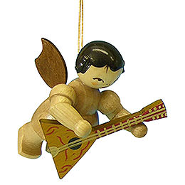 Tree Ornament  -  Angel with Balalaika  -  Natural Colors  -  Floating  -  5,5cm / 2,1 inch