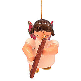 Tree Ornament  -  Angel with Bassoon  -  Red Wings  -  Floating  -  5,5cm / 2,1 inch