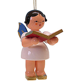 Tree Ornament  -  Angel with Book  -  Blue Wings  -  9,5cm / 3.7 inch