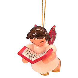 Tree Ornament  -  Angel with Book  -  Red Wings  -  Floating  -  5,5cm / 2,1 inch