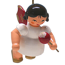 Tree Ornament  -  Angel with Candied Apple  -  Red Wings  -  Floating  -  5,5cm / 2.2 inch