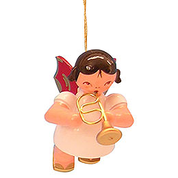 Tree Ornament  -  Angel with Flugelhorn  -  Red Wings  -  Floating  -  5,5cm / 2,1 inch