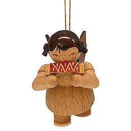 Tree Ornament  -  Angel with Harmonica  -  Natural Colors  -  Floating  -  5,5cm / 2,1 inch