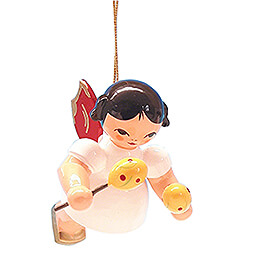 Tree Ornament  -  Angel with Maracas  -  Red Wings  -  Floating  -  5,5cm / 2.2 inch