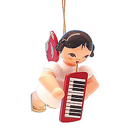 Tree Ornament  -  Angel with Melodica  -  Red Wings  -  Floating  -  5,5cm / 2.2 inch