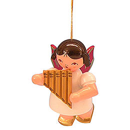 Tree Ornament  -  Angel with Pan Pipe  -  Red Wings  -  Floating  -  5,5cm / 2,1 inch