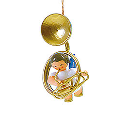 Tree Ornament  -  Angel with Sousaphone  -  Blue Wings  -  Floating  -  5,5cm / 2.2 inch
