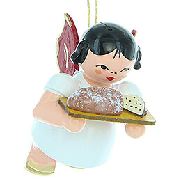 Tree Ornament  -  Angel with Stollen Plate  -  Red Wings  -  Floating  -  5,5cm / 2.2 inch