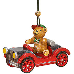 Tree Ornament  -  Car with Teddy  -  5cm / 2 inch