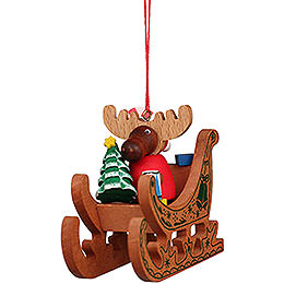 Tree Ornament  -  Moose Santa in Sledge  -  6,6cm / 2.6 inch