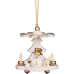 Tree Ornament  -  Pyramid White with Snowman  -  7,5cm / 3.0 inch