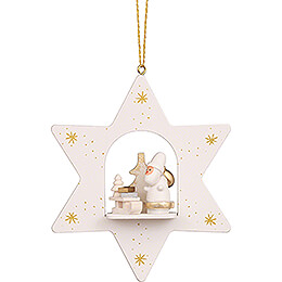 Tree Ornament  -  Star White Santa with Sled  -  9,6cm / 3.8 inch