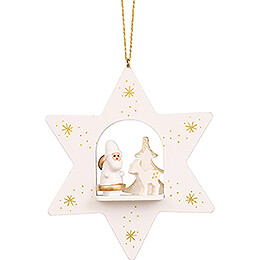 Tree Ornament  -  Star White with Santa Claus  -  9,6cm / 3.8 inch