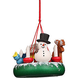 Tree Ornament  -  Wreath with Snowman  -  4,5cm / 1.8 inch