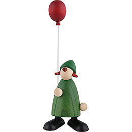 Well - Wisher Lina with Red Balloon, Green  -  9cm / 3.5 inch