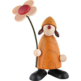 Well - Wisher Susi with Flower Standing, Yellow  -  9cm / 3.5 inch