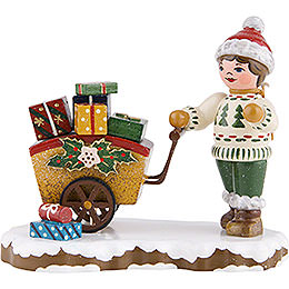 Winter Children Child with Gifts  -  8cm / 3 inch